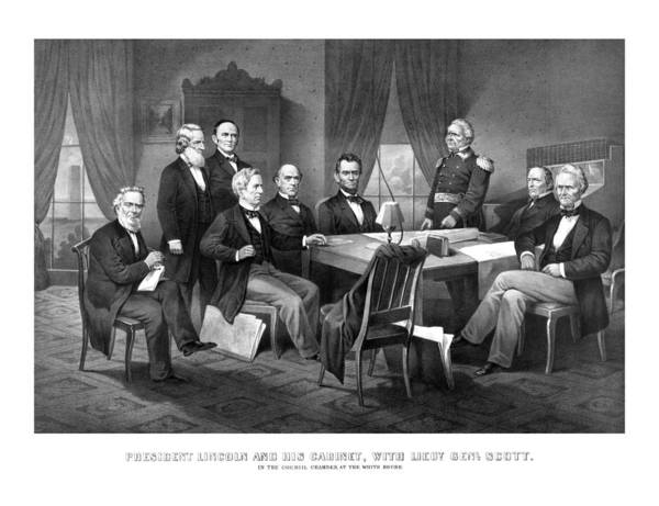Abraham Lincoln Poster featuring the mixed media President Lincoln His Cabinet And General Scott by War Is Hell Store