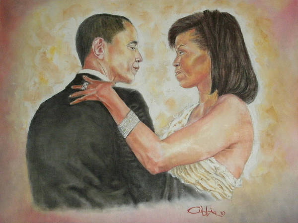 44th President Poster featuring the painting President Obama And First Lady by G Cuffia