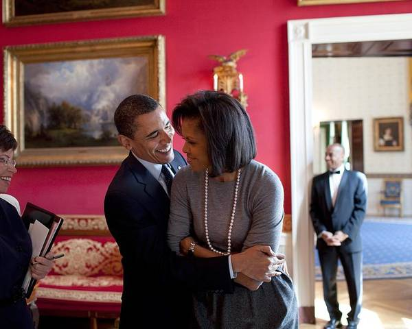 History Poster featuring the photograph President Obama Hugs First Lady by Everett