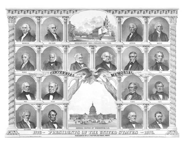 Us Presidents Poster featuring the mixed media Presidents Of The United States 1776-1876 by War Is Hell Store