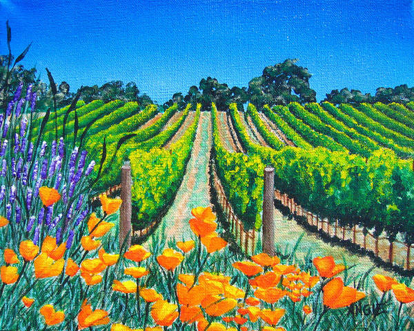 Vineyard Poster featuring the painting Presidio Vineyard by Angie Hamlin