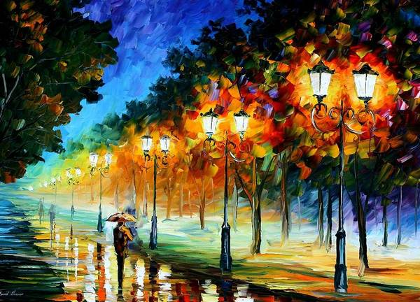 Afremov Poster featuring the painting Prespective Of The Night by Leonid Afremov