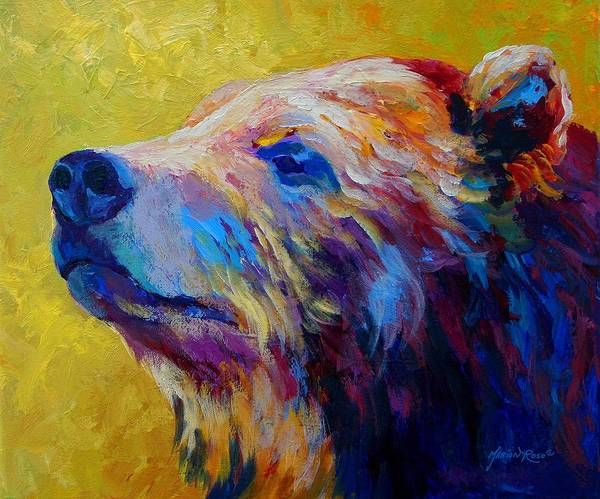 Bear Poster featuring the painting Pretty Boy - Grizzly Bear by Marion Rose