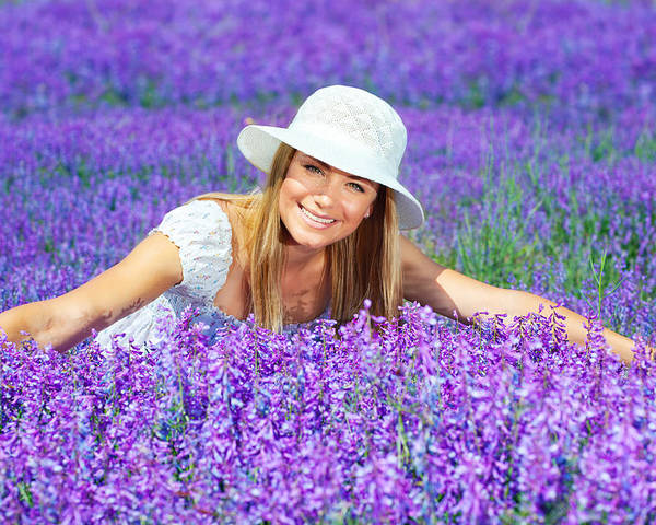Background Poster featuring the photograph Pretty Woman On Lavender Field by Anna Om