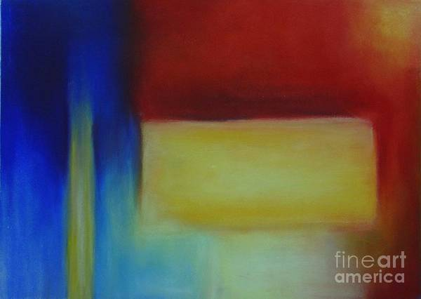 Leilaatkinson Abstract Pastel Red Yellow Blue Composition Poster featuring the painting Primary by Leila Atkinson