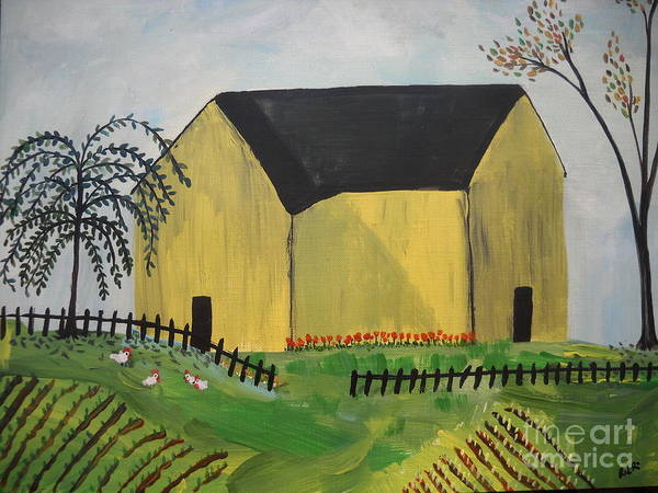 Folk Primitive Art Farm House Chickens Trees Poster featuring the painting Primitive Folk by Reina Resto