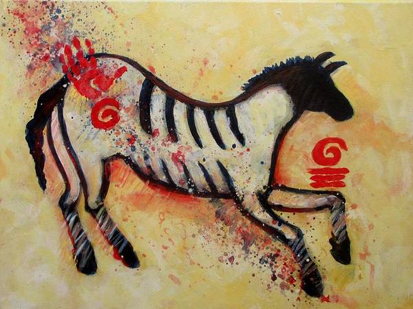 Primitive Poster featuring the painting Primitive Little Horse by Carol Suzanne Niebuhr