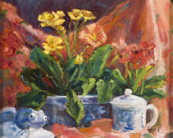 Flowers Poster featuring the painting Primroses And Blue China by Jimmie Trotter