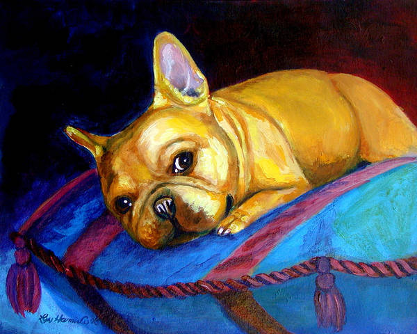 French Bulldog Poster featuring the painting Princess And Her Pillow French Bulldog by Lyn Cook