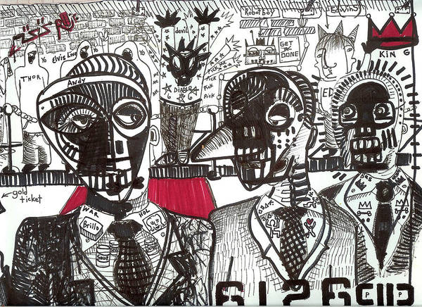 Rwjr Poster featuring the drawing Private Party by Robert Wolverton Jr