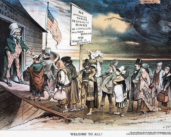 1880 Poster featuring the photograph Pro-immigration Cartoon by Granger