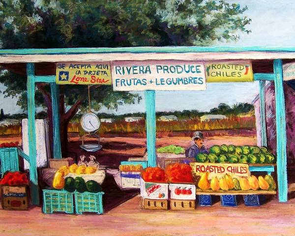 Cityscape Poster featuring the pastel Produce Stand by Candy Mayer
