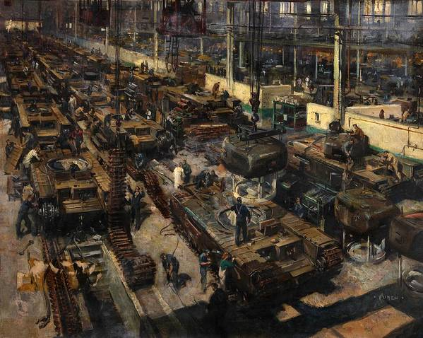 Painting Poster featuring the painting Production Of Tanks by Mountain Dreams