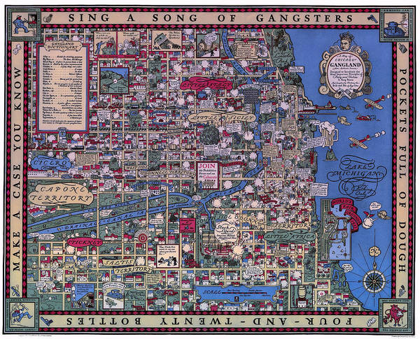 Prohibition Gangland Map Of Chicago 1931 Poster by Daniel Hagerman on