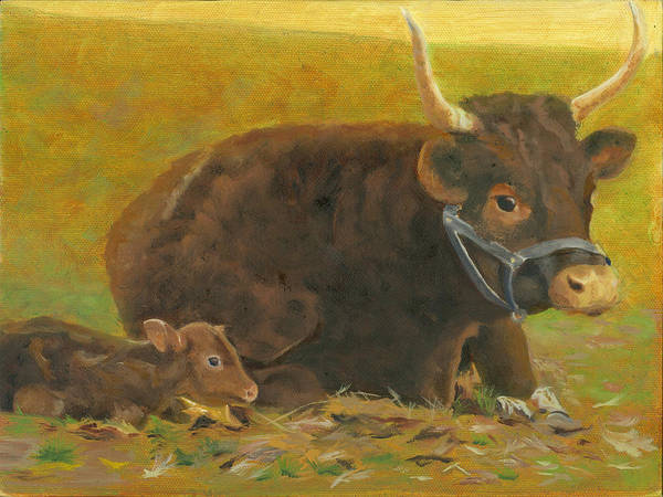 Cow Calf Bull Farmscene Poster featuring the painting Proud Pappa by Paula Emery