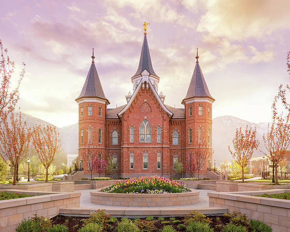 Provo City Center Utah Temple Poster featuring the photograph Provo City Center Temple Dawn by Tausha Schumann