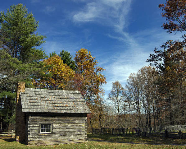 Scenic Tours Poster featuring the photograph Puckett Cabin Va by Skip Willits