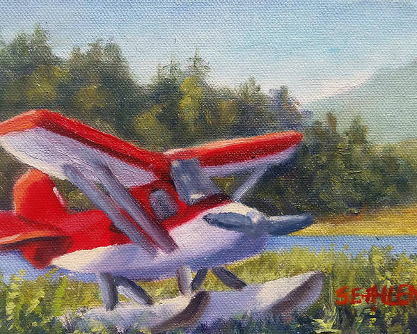 Plane Poster featuring the painting Puddle Jumper by Sharon E Allen
