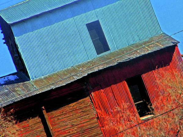 Abstract Poster featuring the digital art Pueblo Downtown--sweenys Feed Mill by Lenore Senior
