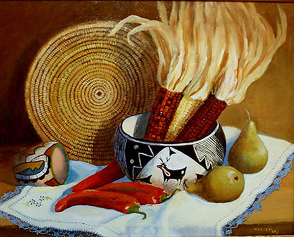 Two Pueblo Pots And Corn. Poster featuring the painting Pueblo Influence by Esther Marie Versch