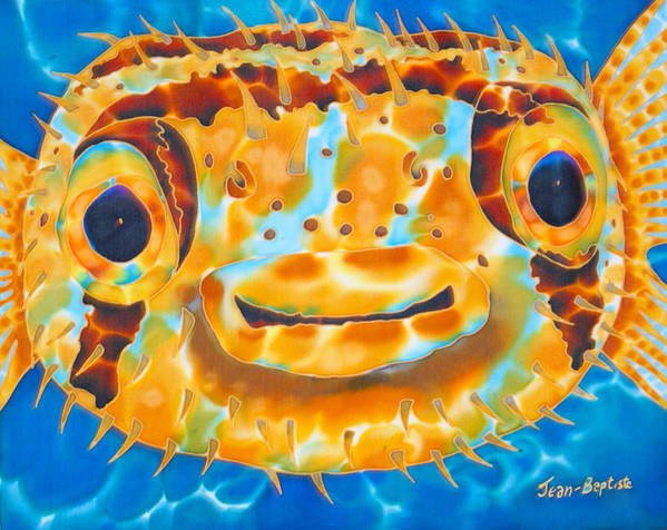 Puffer Fish Poster featuring the painting Puffer Fish by Daniel Jean-Baptiste