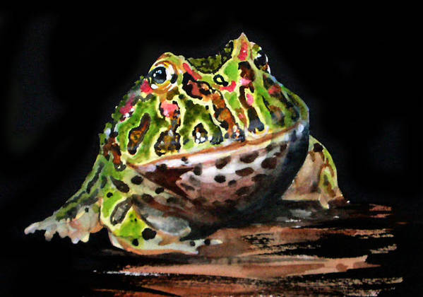 Bells Horned Frog Poster featuring the painting Puffy by Gina Hall
