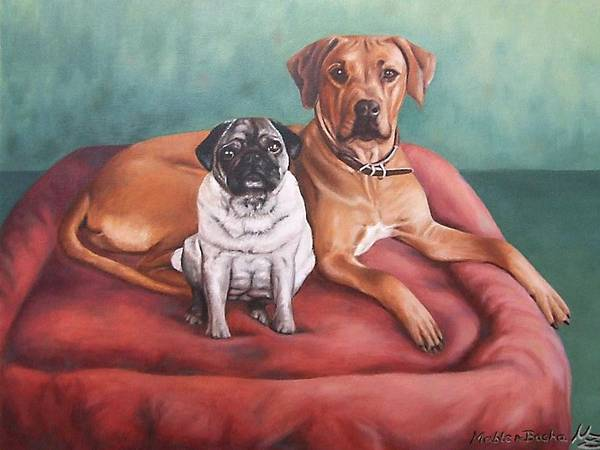 Dogs Poster featuring the painting Pug And Rhodesian Ridgeback by Nicole Zeug