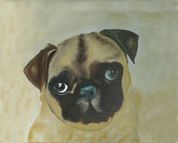 Poster featuring the painting Pug by Dick Larsen