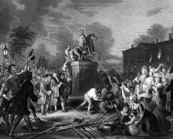 Revolution Poster featuring the painting Pulling Down The Statue Of George IIi by War Is Hell Store