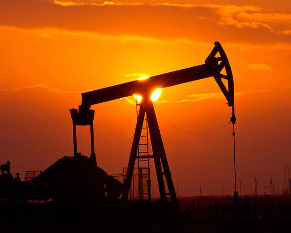 Oilfield Poster featuring the photograph Pumping Oil Rig At Sunset by Connie Cooper-Edwards