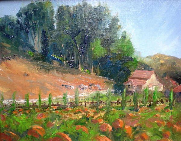 Barns Poster featuring the painting Pumpkin Fields At Bates Nut Farm by Bryan Alexander