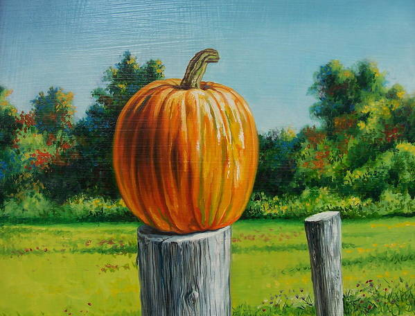 Still Life Poster featuring the painting Pumpkin Post by Arnold Hurley