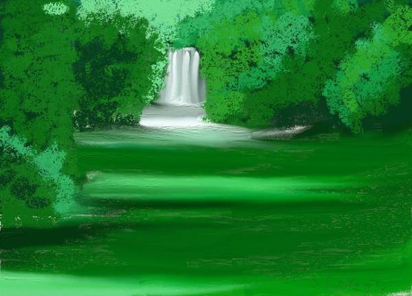 Waterfall Poster featuring the painting Punch Bowl Falls by Shelton coker jr