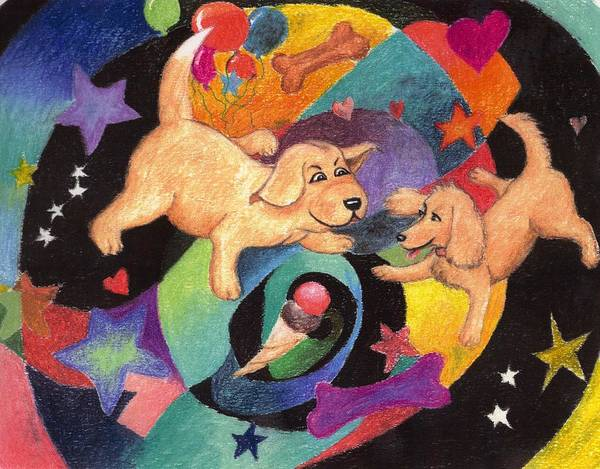 Puppy Poster featuring the pastel Puppy Dog Dream by Larry Whitler