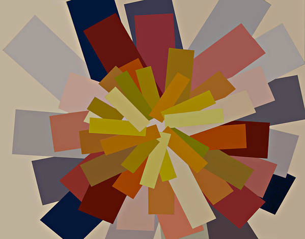 Modern Artwork Digitally Enhanced Canvas Prints Graphic Bright Colors Purple Gold Orange Brilliant Striking Modular Shapes Blue Hues Red Brown Poster featuring the painting Purple And Gold Graphic Blocks Of Color by Beverly Trivane