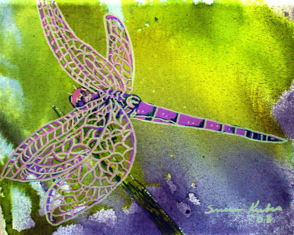 Dragonfly Poster featuring the painting Purple Dragonfly by Susan Kubes