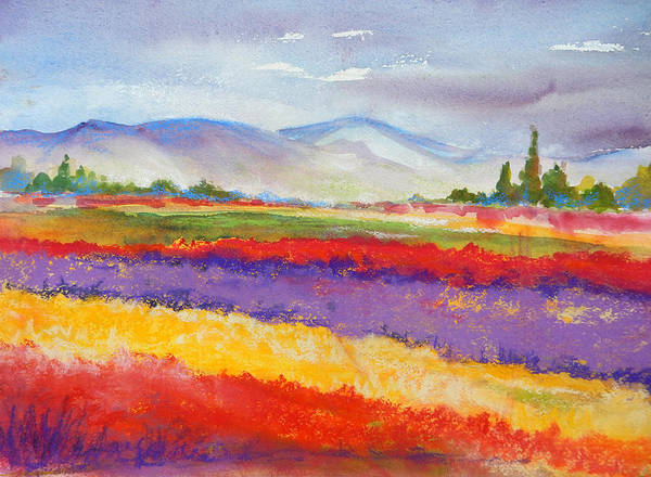 Fields Poster featuring the painting Purple Fields by Caroline Patrick