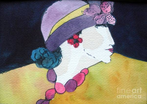 Lady In Hat Poster featuring the painting Purple Hat by Jane Ferguson