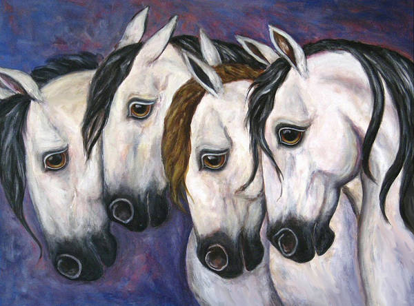 Horse Painting Poster featuring the painting Purple Haze by Frances Gillotti