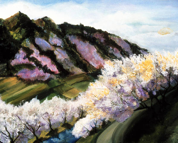 Purple Hills  Poster featuring the painting Purple Hills by Ione Citrin