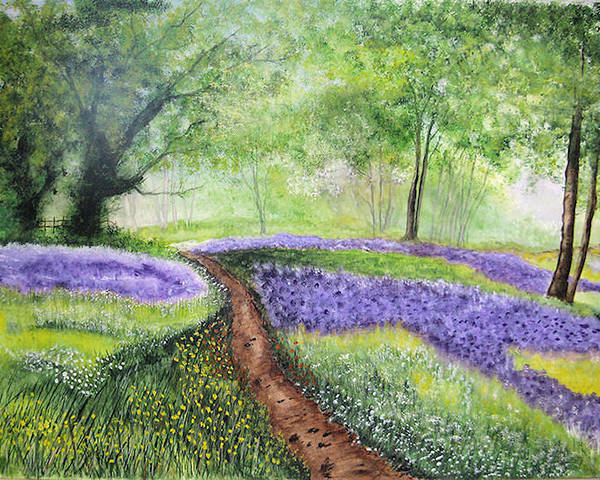 Landscape Poster featuring the painting Purple Meadow by Maris Sherwood