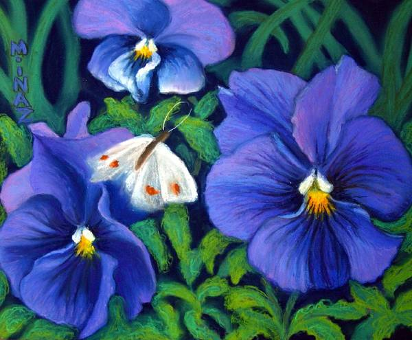 Pansy Poster featuring the painting Purple Pansies And White Moth by Minaz Jantz