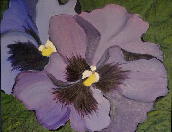 Flower Poster featuring the painting Purple Pansies by Nancy Sisco