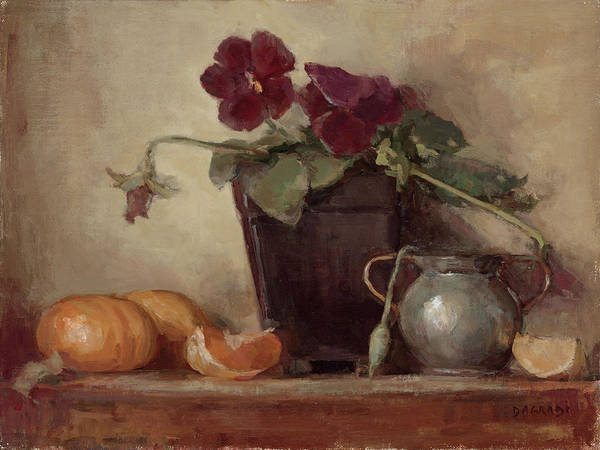 Floral Still Life Poster featuring the painting Purple Pansy by Joan DaGradi