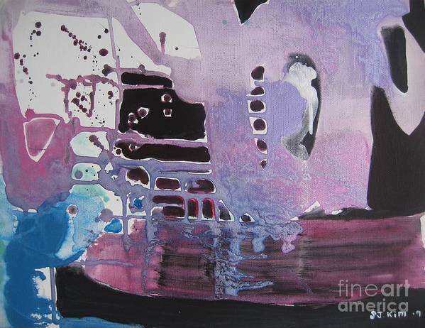 Abstract Paintings Poster featuring the painting Purple Seascape by Seon-Jeong Kim