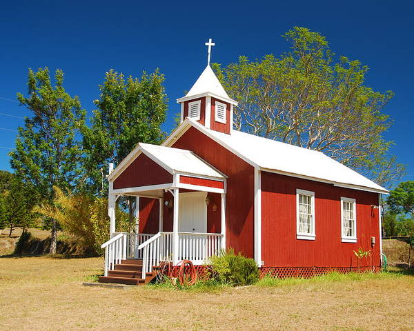 Christian Poster featuring the photograph Pu'uanahulu Baptist Church - Pu'uanahulu by Steven Rice