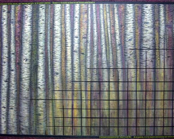 Birch Aspen Tree Quote Science Art Faces Poster featuring the painting Quantum Edith by Sally Van Driest
