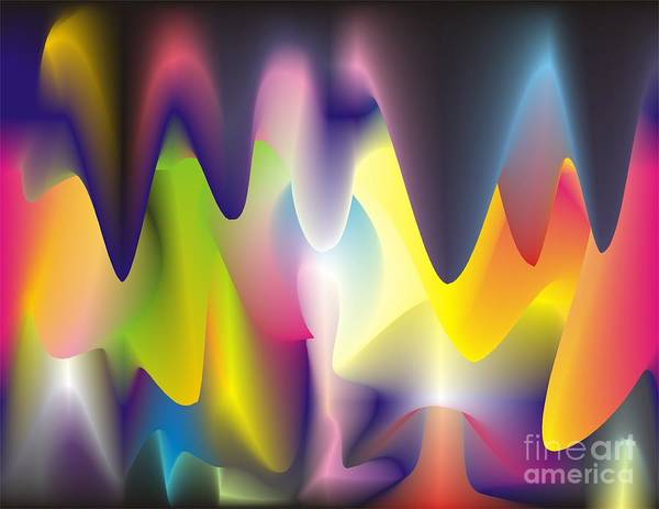 Abstract Poster featuring the digital art Quantum Landscape 6 by Walter Oliver Neal
