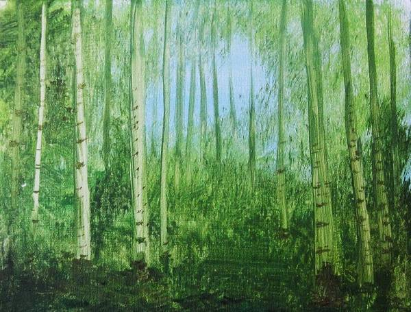 Woods Poster featuring the painting Quiet Stroll by Trilby Cole