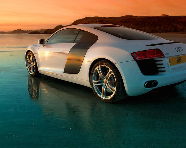 Audi Poster featuring the photograph R8 On The Beach 2 by Rory Trappe